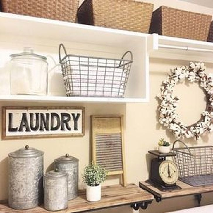 Popular Farmhouse Laundry Room Decorating Ideas23