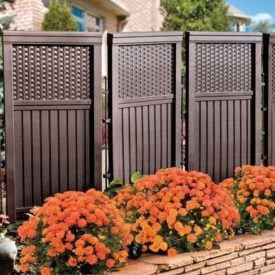 Stylish Wooden Privacy Fence Patio Backyard Landscaping Ideas23