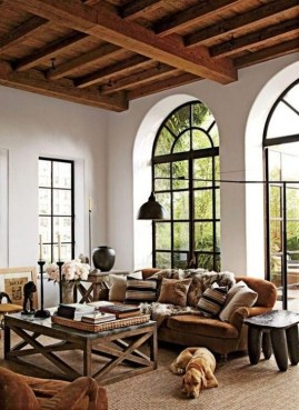 Amazing Living Rooms Design Ideas With Exposed Wooden Beams 23