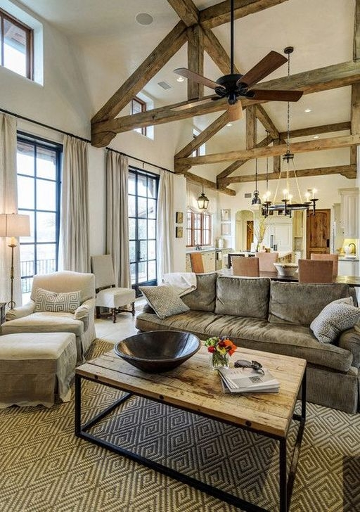 Amazing Living Rooms Design Ideas With Exposed Wooden Beams 33