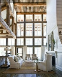 Amazing Living Rooms Design Ideas With Exposed Wooden Beams 44