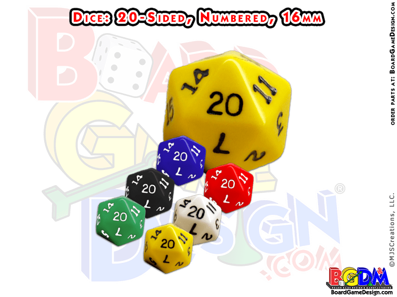 20 sided numbered dice, d20