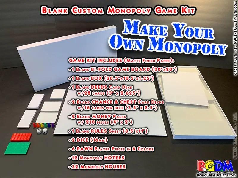 Blank Custom Monopoly Game Kit