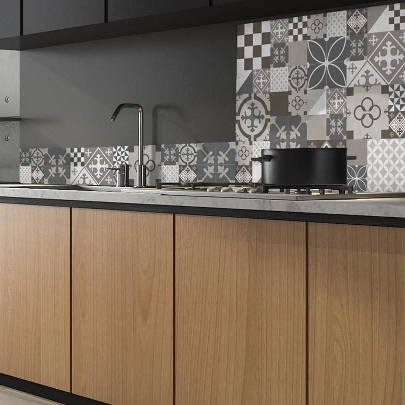 Crdence de cuisine adhsive en aluminium Carreaux de ciment marrons et beiges  99 dco