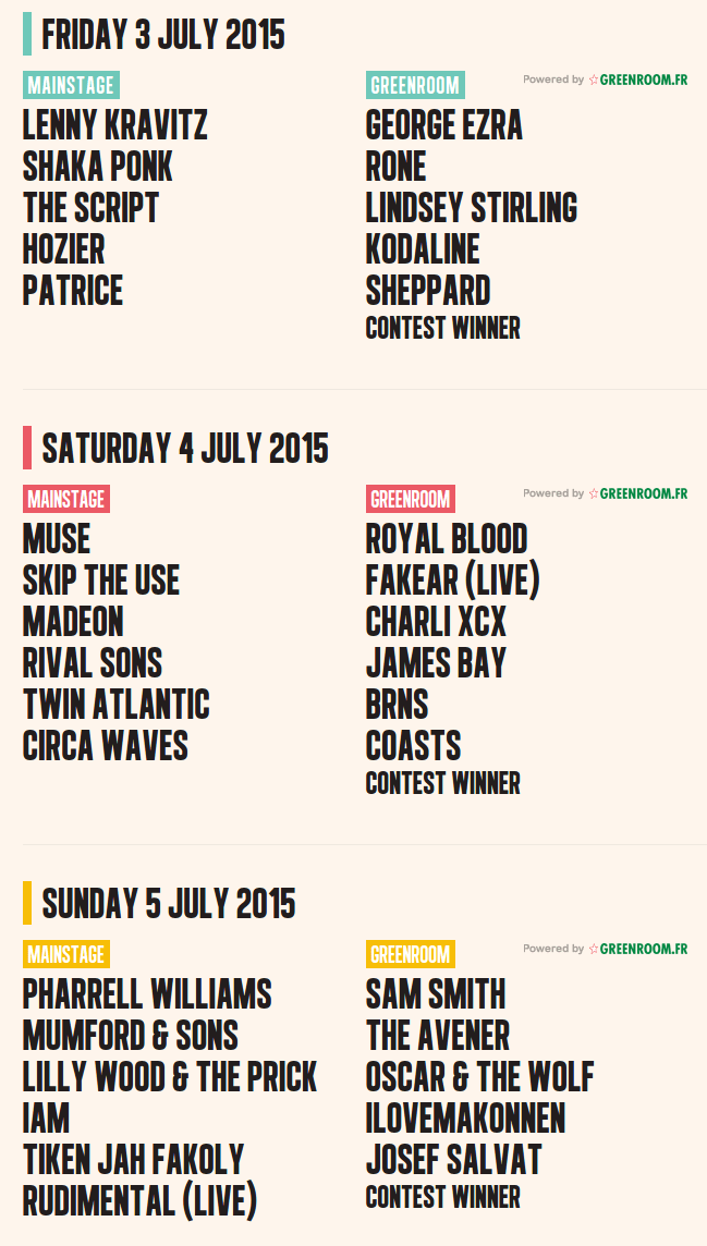 Mainsquare Festival 2015   Line Up