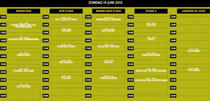 Pinkpop 2015 presenteert tijdschema zondag