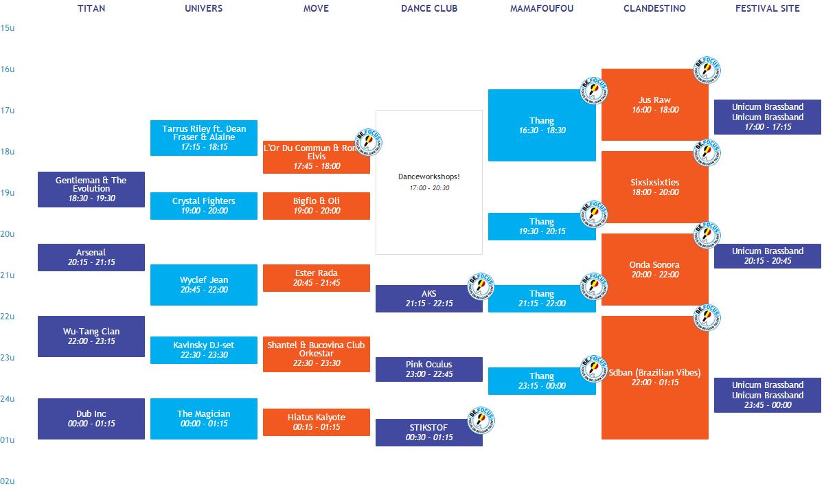 Couleur Caf 2015 Presenteert Podia En Timetables