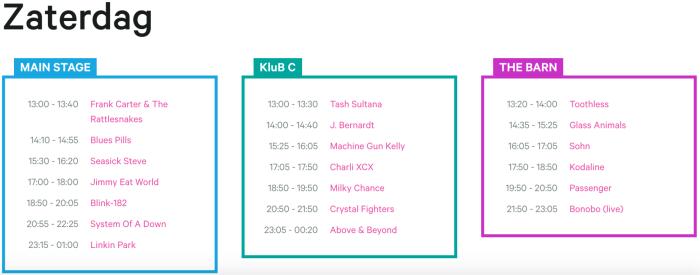Zaterdag affiche en timetable Rock Werchter 2017 compleet