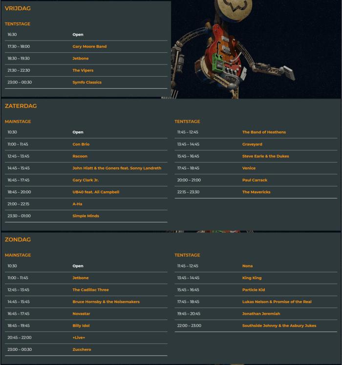 Timetable en affiche Bospop 2018 compleet 14 & 15 juli