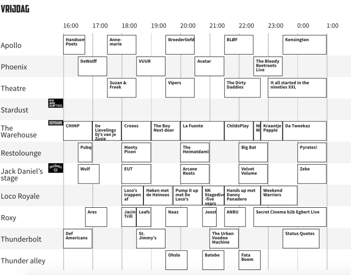 Vrijdag timetable Paaspop 2018 is beschikbaar