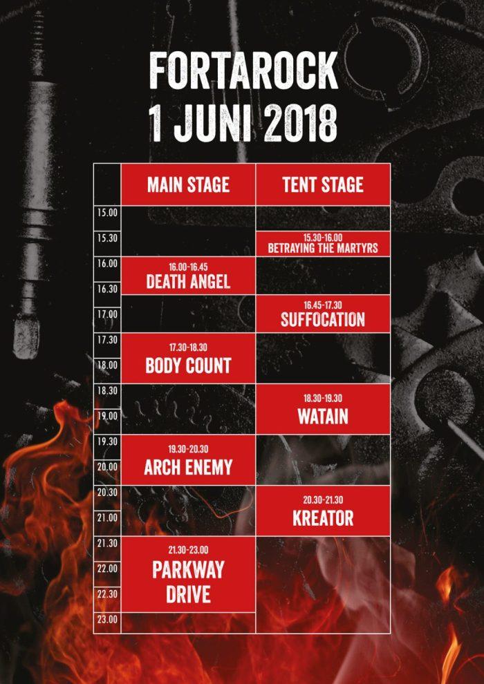 Timetable FortaRock 2018 Vrijdag 1 Juni