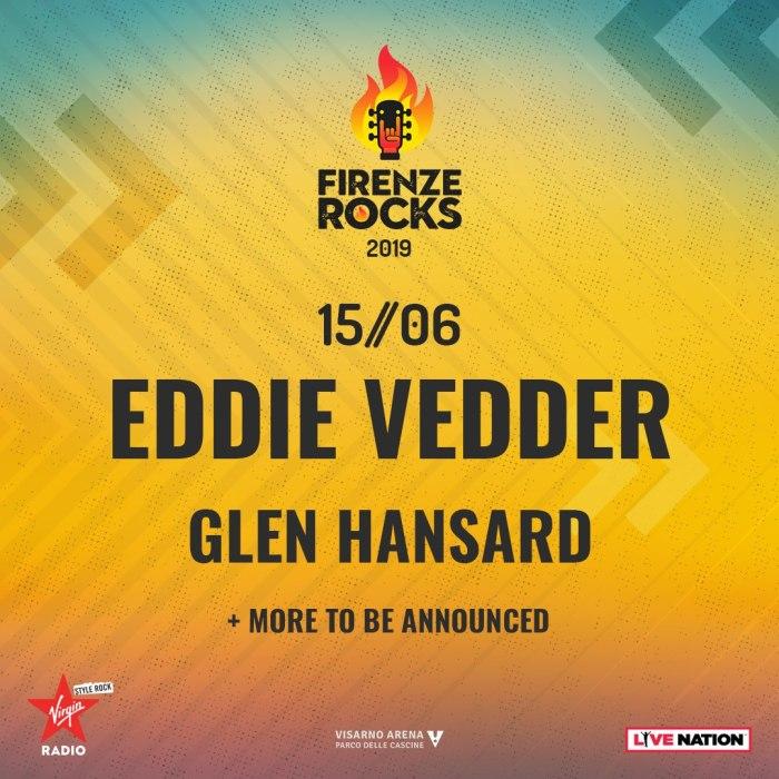 Eddie Vedder en Glen Hansard naar Firenze Rocks