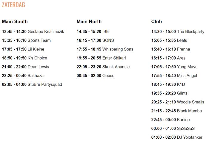 Timetable Crammerock 2019 Zaterdag