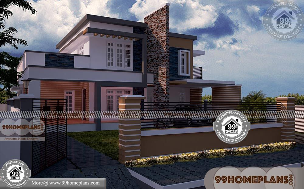 Rectangular Home Plans with 3D Elevations  Double Story Modern Plans