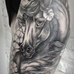 100 Ink Cute Black Flower Horse Thigh Tattoo Design 1080x1531 2020