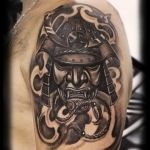 100 Realistic Black Samurai Mask Shoulder Tattoo Design 1080x1440 2021