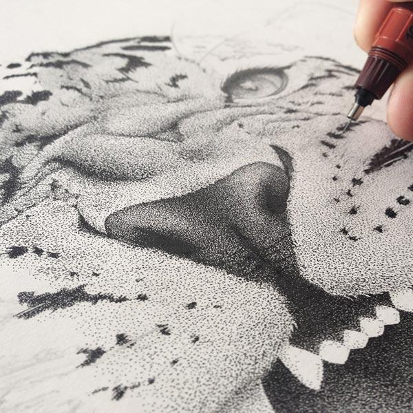 Incredible stippling Art Typography & Illustrations by Xavier Casalta