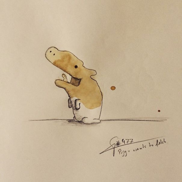 Creative Monster Coffee Stains Drawings