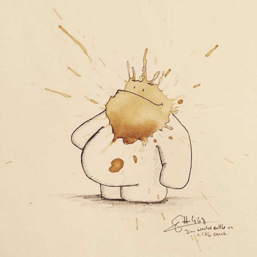 Funny Monster Coffee Stains Drawings