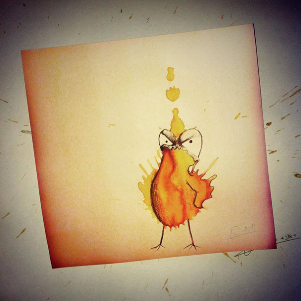 Funny Monster drawing made from Coffee Stains