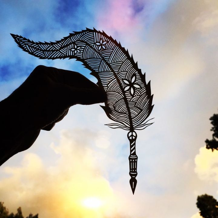 Quill paper cut art by Jo Chorny