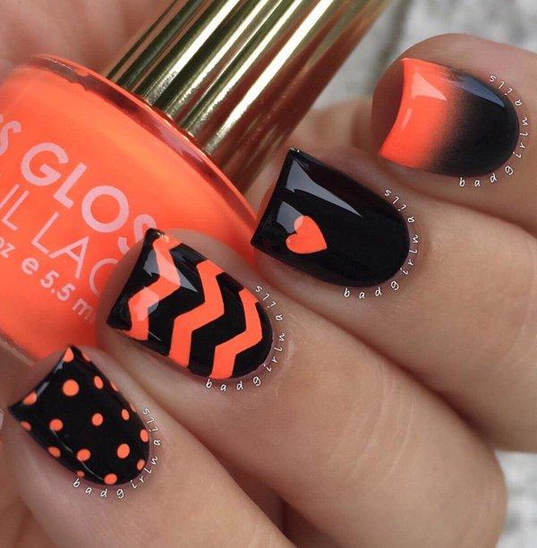 Black and orange nail art idea