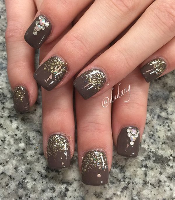 Brown-and-glitter-nail-art