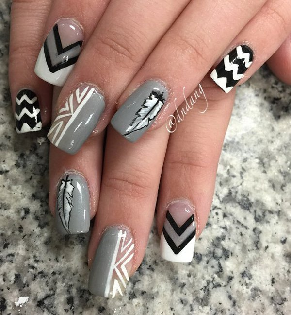 Gary-and-white-feather-nail-art