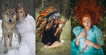 Beauty Fine Art Portraits Photography With Real Animals by Katerina Plotnikova
