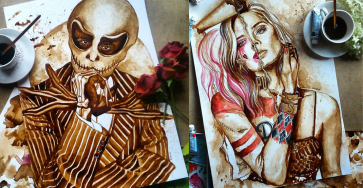 Stunning Coffee Stain Painting By Nuriamarq