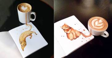 Creative Cute Cat Illustration With Coffee Stains by Elena Efremova