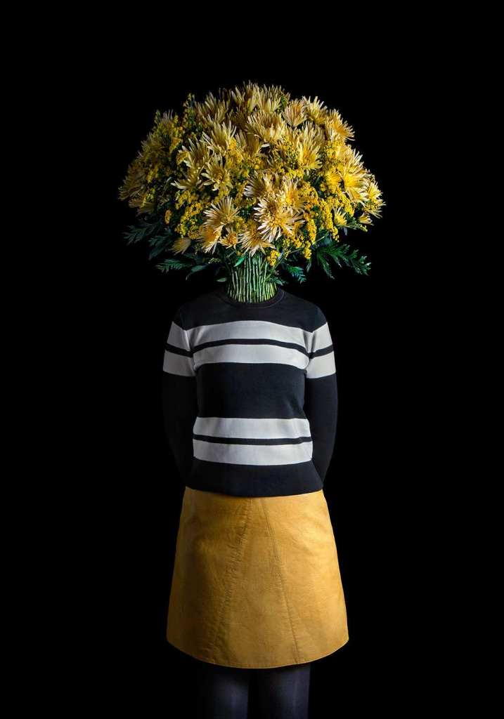 Flower Dressed in Contemporary Outfits by Miguel Vallinas 01