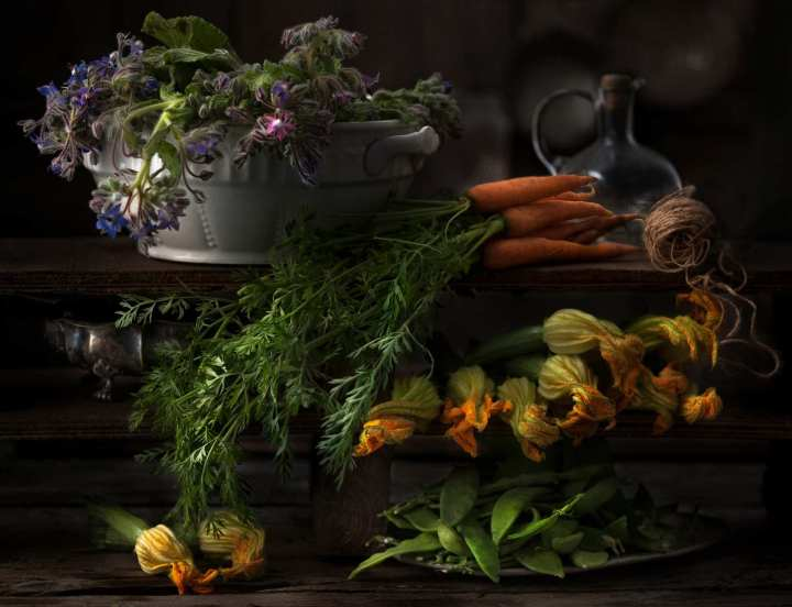 Patrizia Piga's masterly still life of harvested plants and vegetables