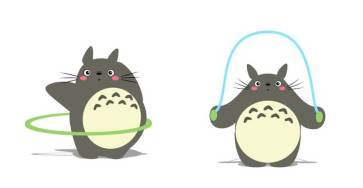 Funny Animated Gifs of Totoro Making Fitness 1