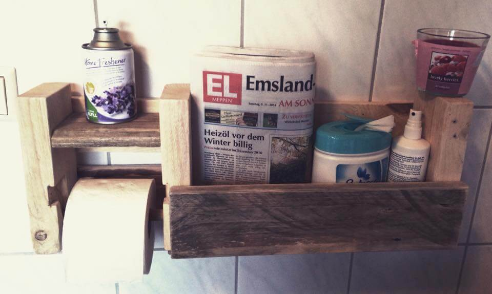 Pallet Bathroom Shelf with Toilet Paper Holder