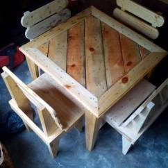 Comfy Kid Chairs Bistro Table And Kmart Diy Pallet Dining For Kids | 99 Pallets