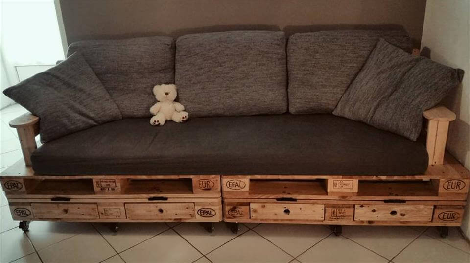 Pallet Sofa Plan with Drawers  DIY Tutorial  99 Pallets