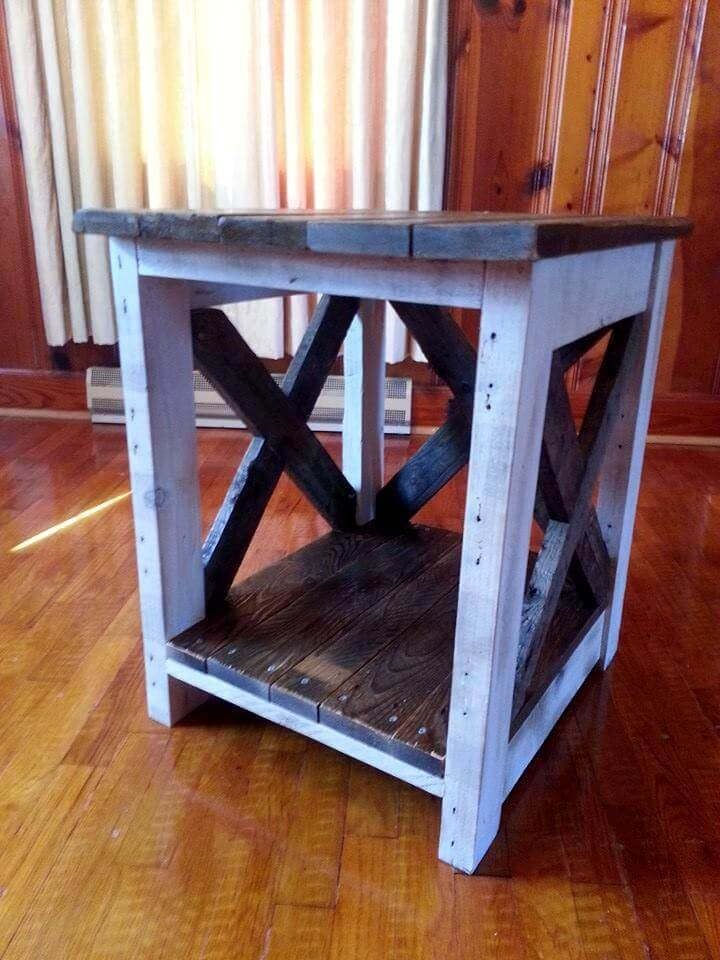 diy sofa from pallets replacement seat cushions for uk upcycled wooden pallet side table | 99