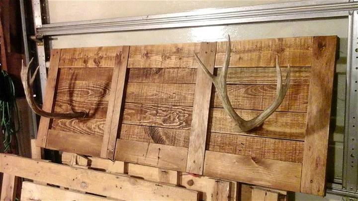 Hallway Pallet Coat Rack with Antler Hooks
