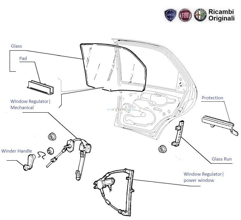 FIAT Palio, Petra, Adventure,Stile: Glass & Regulator Rear