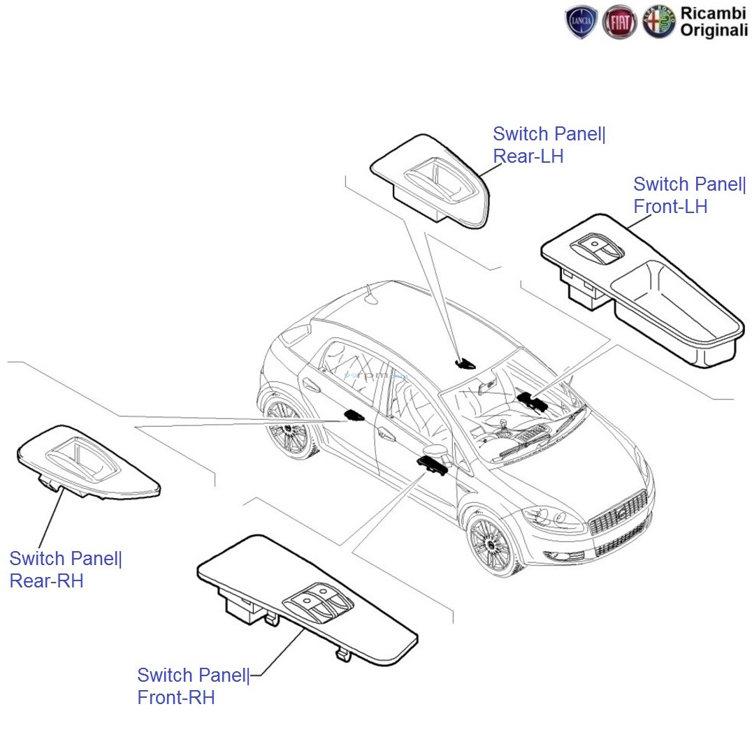 Fiat Grande Punto: Power window and Electric Mirror Switches