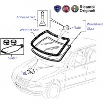 FIAT Windshield & associated rubber fittings for FIAT