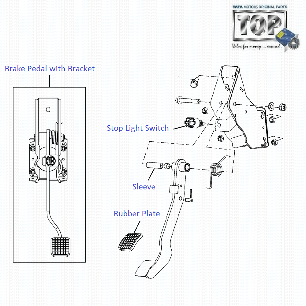 TATA Vista Sedan Class 1.3 Quadrajet: Brake Pedal