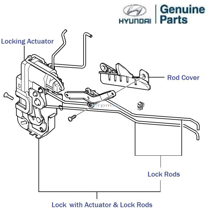 Hyundai Getz: Front Door Lock, Left, Rod, cover, central
