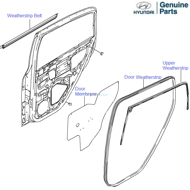 Hyundai Getz Prime: Rear Door Seal
