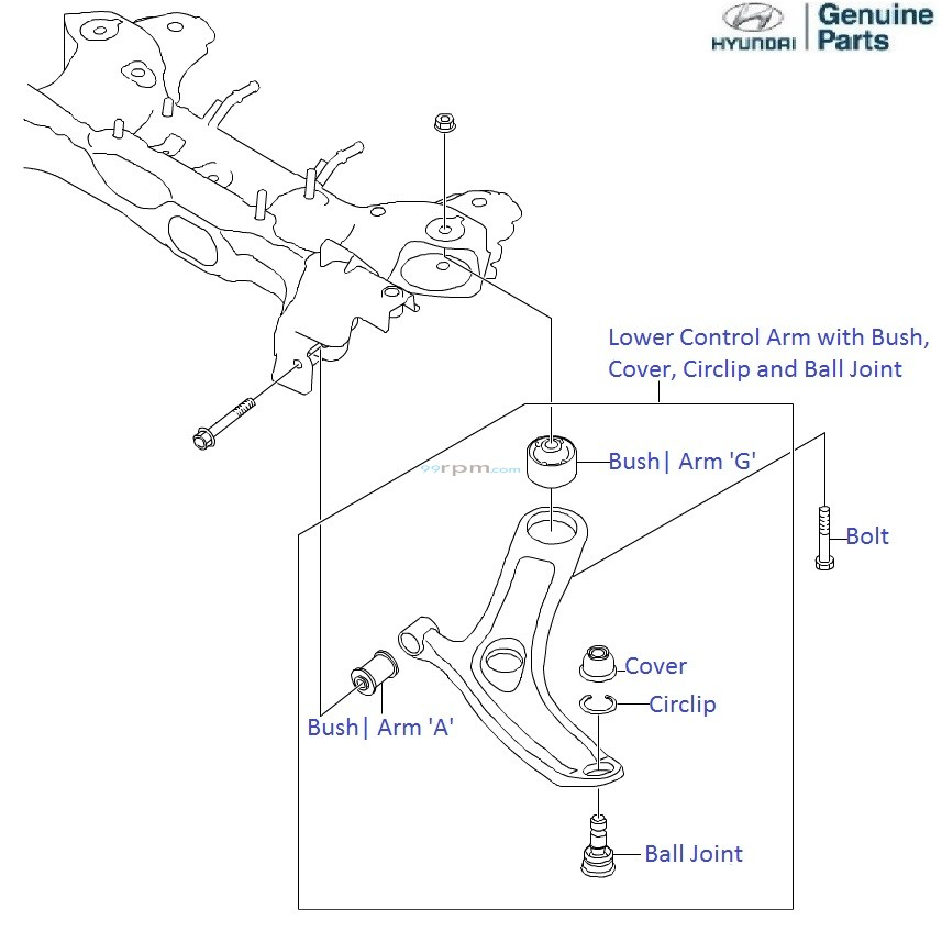Hyundai i20: Front Suspension Lower Control Arm