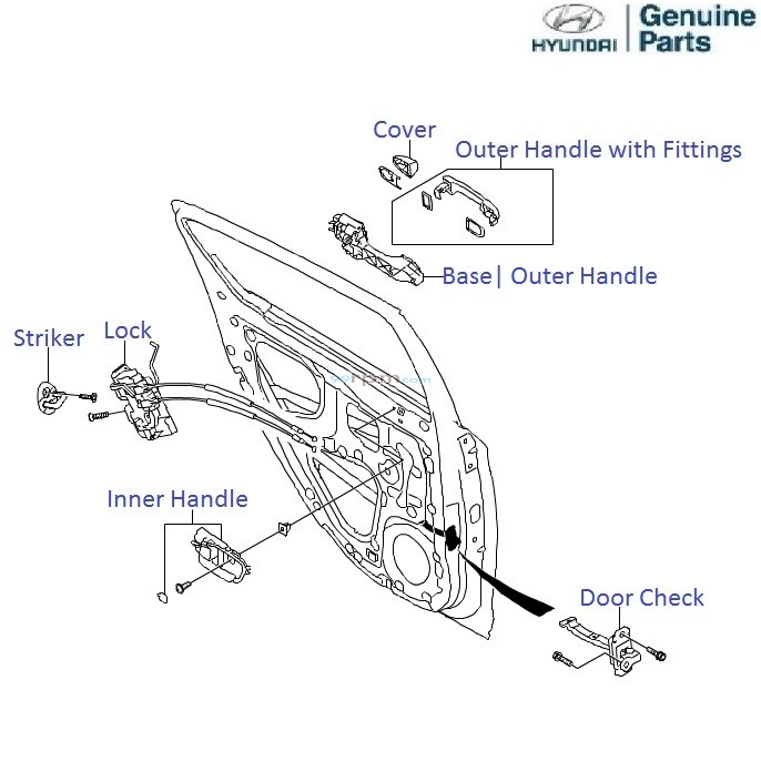 Hyundai i20: Rear Left Door Handle & Lock