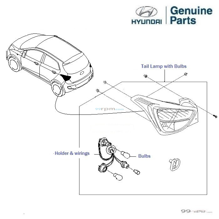 Hyundai Grand i10: Taillamp Left/ Passenger side