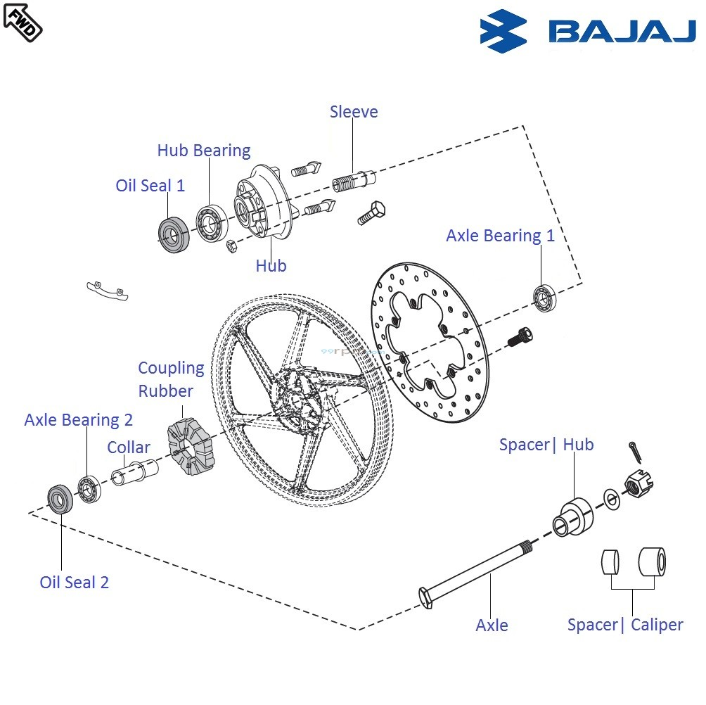 Bajaj Pulsar 220F DTSi: Rear Wheel Hub