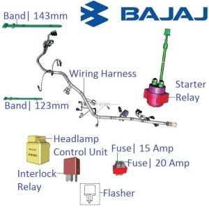 Bajaj Pulsar 200NS: Main Wiring Harness and Realys with Fuses